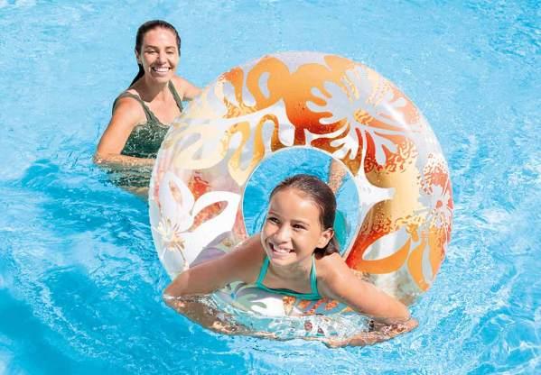 Intex59260 透明泳圈綠色 30″ 76cm