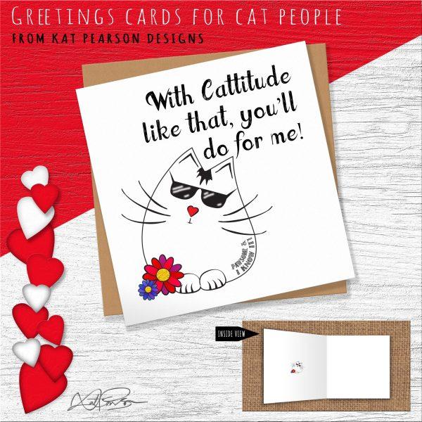 CATTITUDE FUNNY CAT CARD
