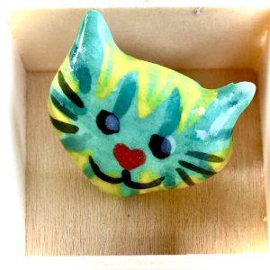 Teal Cat Face Ceramic Pin