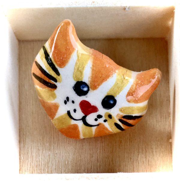 CERAMIC CAT FACE PIN