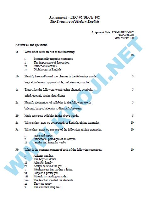 IGNOU BEGE-103 SOLVED ASSIGNMENT 2019-20 ENGLISH …