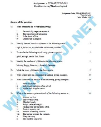 BEGE-102 EEG-02 Solved Assignment For IGNOU BA BDP 2017-18