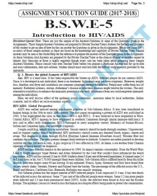 BSWE-005 Solved Assignment English Medium 2017 2018 FREE
