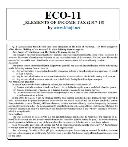 ECO-11 English Medium Solved Assignment For IGNOU BCOM 2017-2018