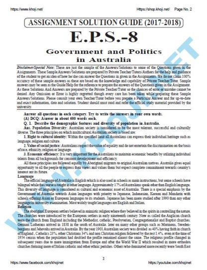 EPS-08 Government And Politics In Australia Solved Assignment 2018