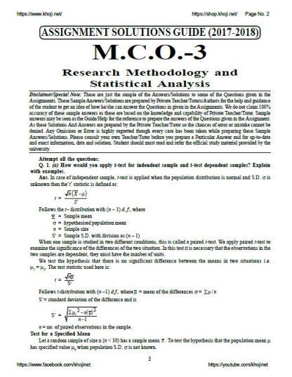 MCO-03 English Medium Solved Assignment For IGNOU MCOM 2018