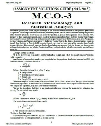 MCO-03 English Medium Solved Assignment For IGNOU MCOM 2018