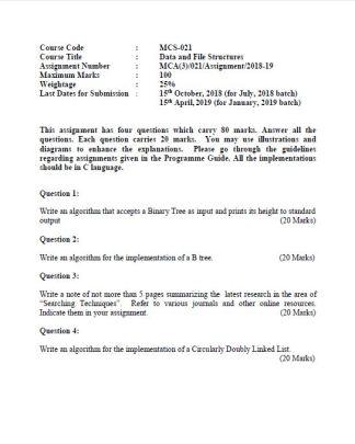 MCS-021 Solved Assignment For IGNOU BCA MCA 2018-2019 PDF