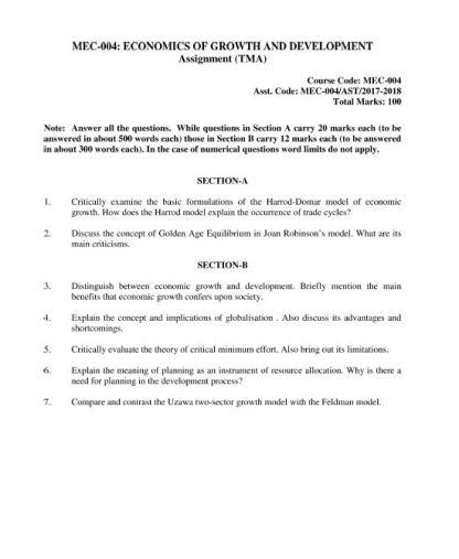 MEC-004 Solved Assignment For IGNOU MA Economics 2018 PDF Solution