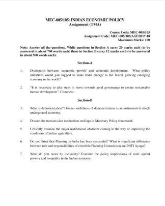 MEC-005 MEC-105 Solved Assignment For IGNOU MA Economics 2018 PDF Solution
