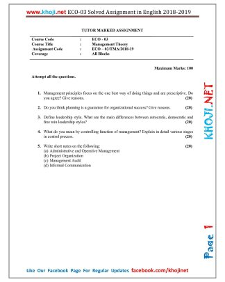 ECO-03 Solved Assignment 2018-2019 in English Medium For IGNOU BCOM BDP