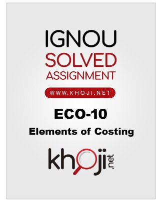 ECO-10 Solved Assignment in English Medium For IGNOU BCOM