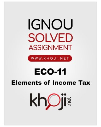 ECO-11 Solved Assignment in English Medium For IGNOU BCOM