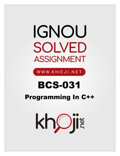 BCS-031 Solved Assignment 2019-20 Product Image