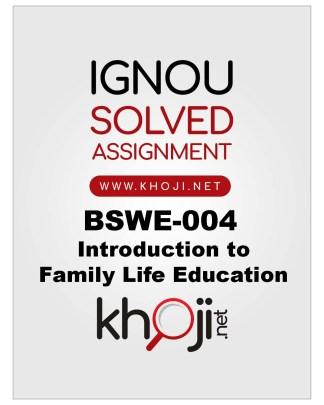 BSWE-004 Solved Assignment English Medium IGNOU BDP