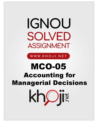 MCO-05 Solved Assignment For IGNOU MCOM English Medium