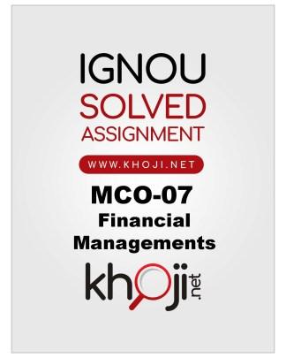 MCO-07 Solved Assignment For IGNOU MCOM English Medium