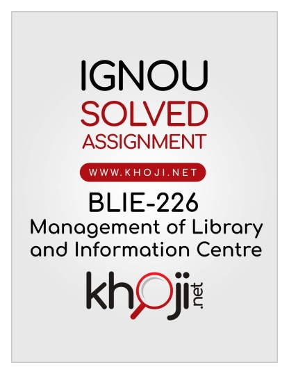 BLIE-226 Solved Assignment English Medium