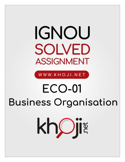 ECO-01 Solved Assignment English Medium For IGNOU B.Com and BCA
