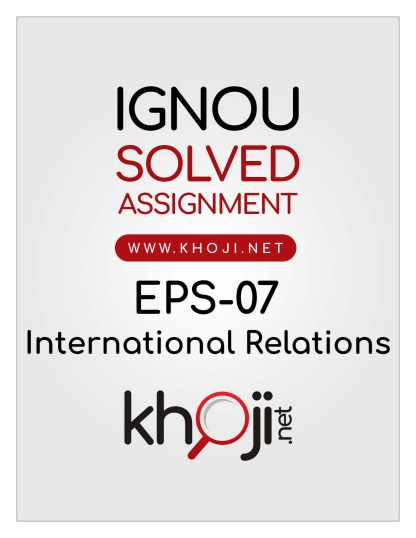 EPS-07 Solved Assignment English Medium For IGNOU BA BDP