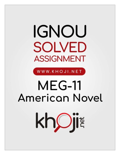 MEG-11 Solved Assignment For IGNOU MA English