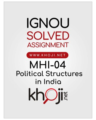 MHI-04 Solved Assignment English Medium For IGNOU MA History