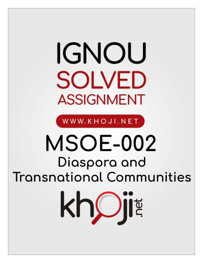 MSOE-002 Solved Assignment English Medium IGNOU MA Sociology