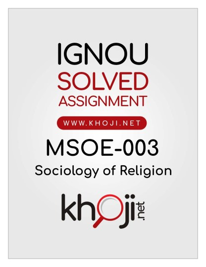 MSOE-003 Solved Assignment English Medium IGNOU MA Sociology