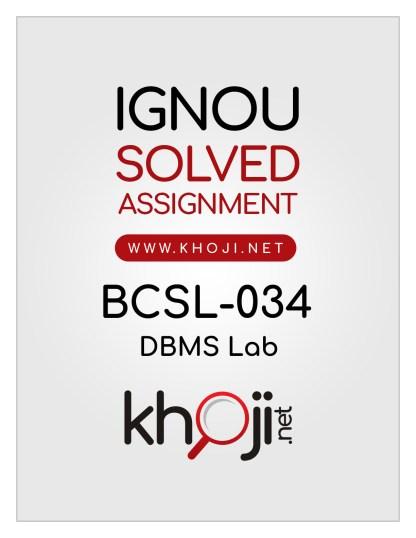 BCSL-034 Solved Assignment For IGNOU BCA 3rd Semester