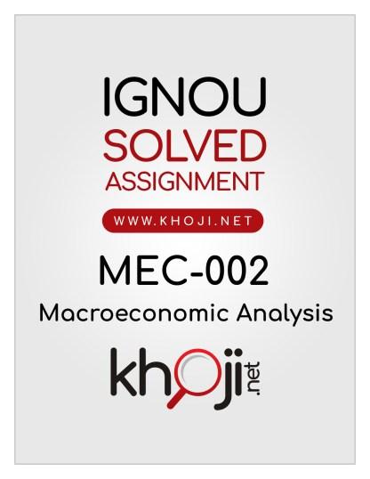 MEC-002 Solved Assignment English Medium IGNOU MA Economics MEC