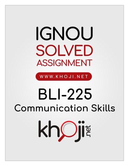 BLI-225 Solved Assignment In English Medium IGNOU BLIS
