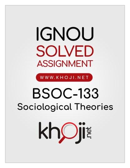 BSOC-133 Solved Assignment English Medium IGNOU BAG