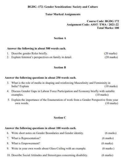 BGDG-172 Assignment Questions 2021-22