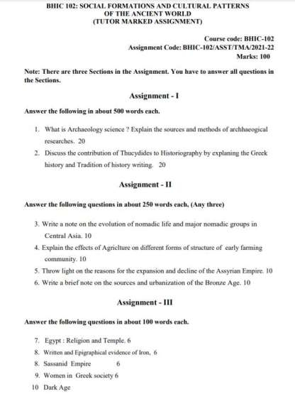 BHIC-102 English Medium Assignment Questions 2021-2022