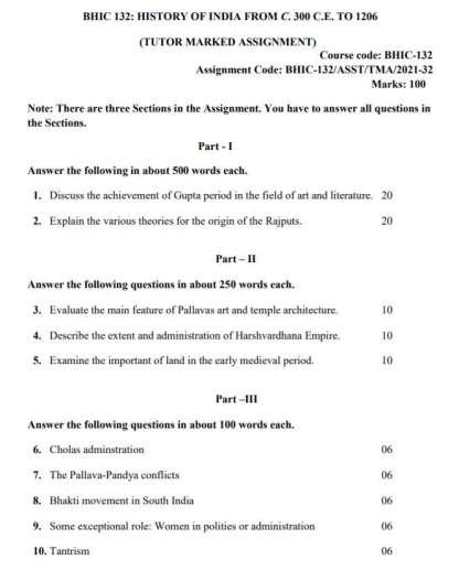 BHIC-132 English Medium Assignment Questions 2021-2022