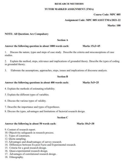 MPC-005 Assignment Questions 2021-2022