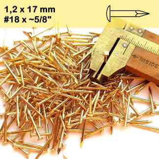 Escutcheon Pins Round Head Brass Plated Gold Nails 17mm 18ga