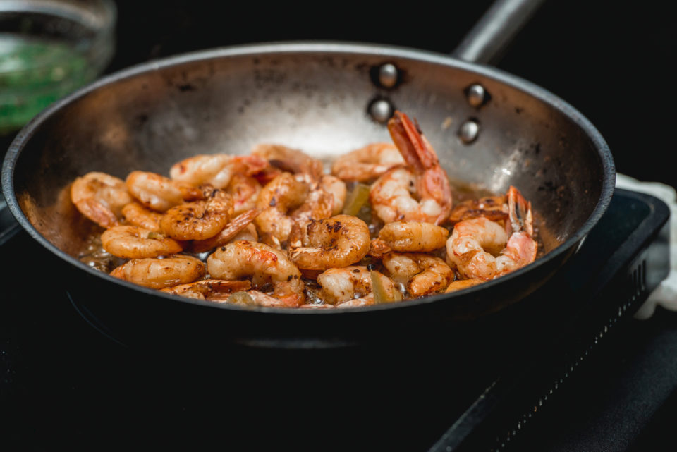 Shrimp on frying pan.