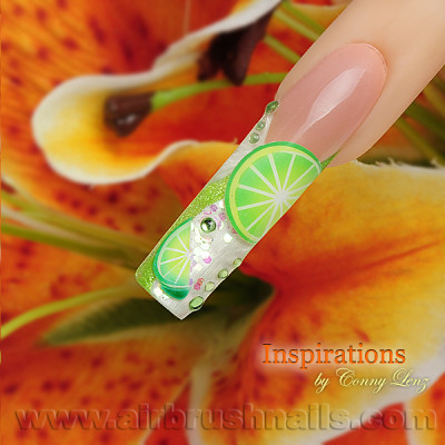 Klebeschablonen CT02, Nailart Airbrush Schablonen Cocktail, Sommer, Party, Orange, Limone, Obst, Früchte