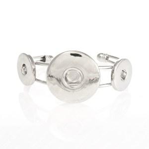 Metall-Armreif aus Messing mit Zinklegierung, offen, mit Druckknopf-Vorrichtungen für 2x18-20mm und 1x30mm Snap Buttons