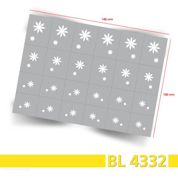 24 Nailart Airbrush Klebeschablonen Blumen BL4332, selbstklebend, Airbrushnailart - Bogenansicht