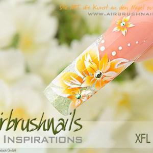 Nailart Airbrush Klebeschablonen XXL Blumen XFL6006, Schmuck-Klebeschablonen Inspiration