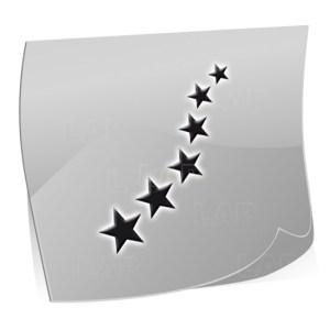 Nailart Schablonen ST7525-Sterne-Motiv, 24 Stück auf dem Schablonenbogen, 3 Größen, Kategorie Sonne, Mond und Sterne