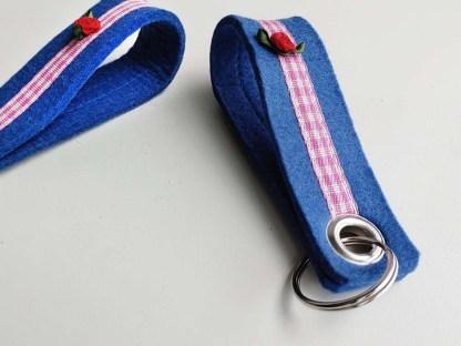 Schlüsselanhänger KARO blau-rosa
