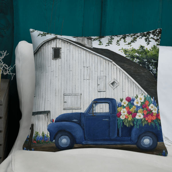 22 inch Flower Farm Truck Pillow on white couch