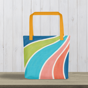 fruity swirl tote with yellow handle on table