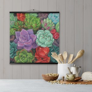 succulent garden hanging canvas print with black frame