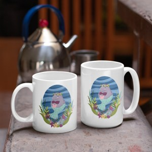 two sizes of manatee mermaid mug