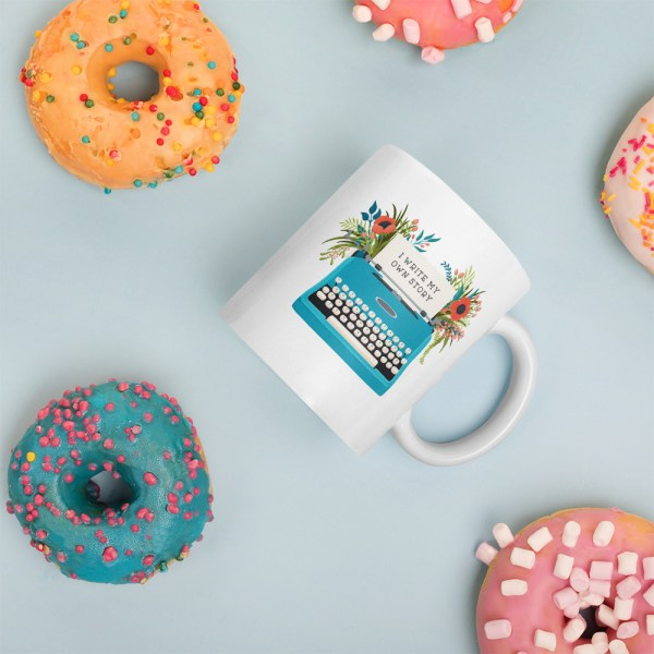 11oz my own story typewriter mug surrounded by donuts