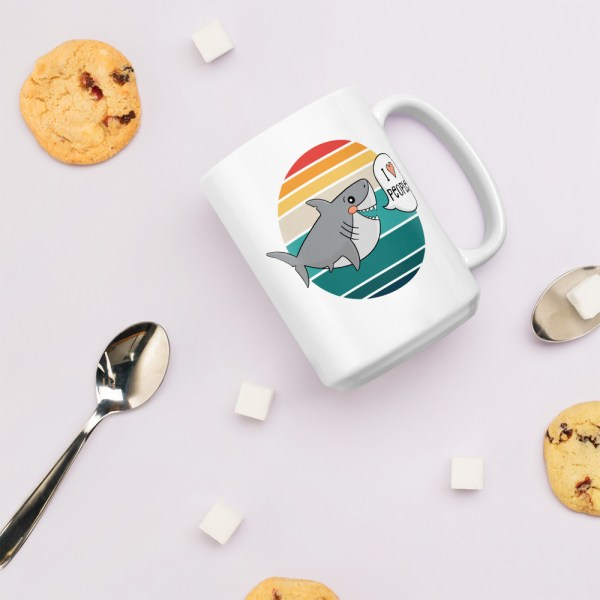 15oz I love people shark mug with cookies and spoons